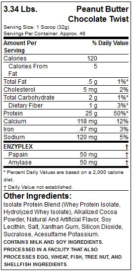 muscletech platinum iso whey fact